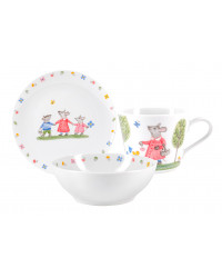 LOMONOSOV IMPERIAL PORCELAIN BABY SET 3PC: CUP, PLATE AND BOWL WALK FOR MUSHROOMS