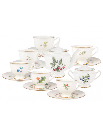 LOMONOSOV IMPERIAL BONE CHINA PORCELAIN TEA SET SERVICE BERRIES OF RUSSIA 14 items