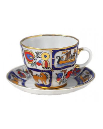 LOMONOSOV IMPERIAL PORCELAIN ESPRESSO COFFEE CUP AND SAUCER RUSSIAN LUBOK TULIP 140 ML/4.7 OZ