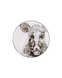 "LOMONOSOV IMPERIAL PORCELAIN DECORATIVE WALL PLATE TOTEM ANIMAL WILD BOAR 23 CM 9.1"""