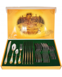 FLATWARE STAINLESS STEEL CUTLERY SET OF 24 PALACE GILDING