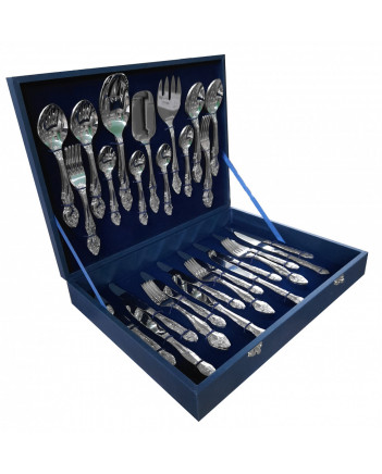 FLATWARE STAINLESS STEEL CUTLERY SET OF 52 TROIKA WOODEN GIFT BOX