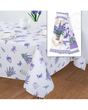 TABLECLOTH AND 3 KITCHEN TOWELS SET PROVENCE LAVENDER