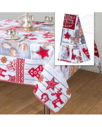 TABLECLOTH AND 3 KITCHEN TOWELS SET CHRISTMAS