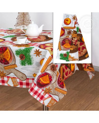 TABLECLOTH AND 3 KITCHEN TOWELS SET GINGERBREAD HOUSE